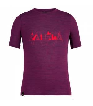 Salewa Graphic Dryton K T-Shirt dark purple melange tričko