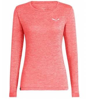 Salewa Puez Melange Dryton Longsleeve W Tee Fluo Coral Melange tričko
