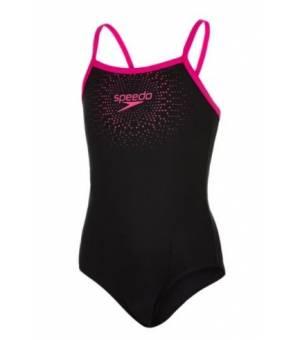 Speedo Gala Logo Madalist Black Pink dámské jednodielne plavky