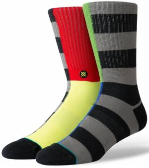 Stance Split Check Black Ponožky Čierne